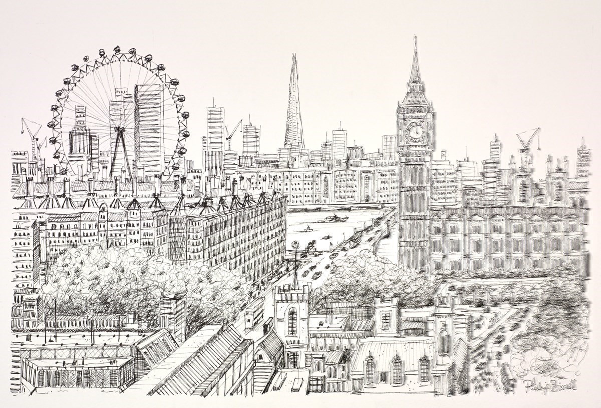 Westminster and the London Eye (Sketch)
